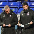 Town manager Paul Lambert and his assistant Stuart Taylor look at their options during the Shrewsbur