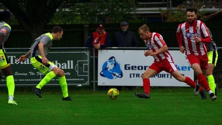 On the offensive: Armani Shaar attacks down the right for Felixstowe & Walton United. Picture: KALEI