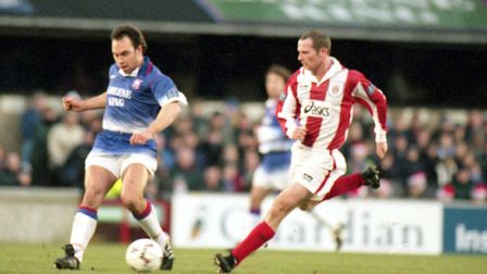 Jason Cundy, who signed a deal with Town in November, 1996, in action against Stoke City.