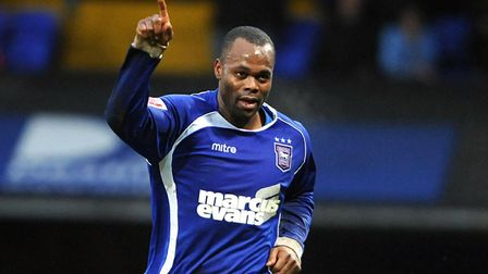 Stern John, celebrates what was his only goal for Ipswich, against Coventry City in the 2009-10 sesa