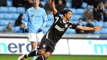 Rory Fallon celebrates scoring his one and only goal in an Ipswich shirt, against Coventry, from a d
