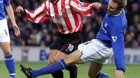 Kevin Phillips skips away from Mark Venus at Portman Road. Picture: PA
