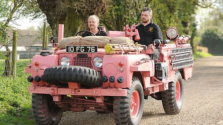 Paul Lincoln and (R) Luke Riley driving a 1968 Land Rover Series IIA 'Pink Panther'. Picture: Ian Bu