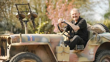 Military vehicle enthusiast Paul Lincoln with his 1942 Willys Jeep. Picture: Ian Burt