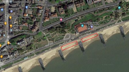 Locations for the beach hut trial on Felixstowe beach. Picture: GOOGLE MAPS