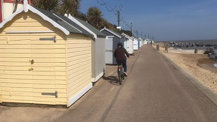 Some of the 55 huts stranded on Felixstowe prom since losing their beach sites due to erosion Picture: RICHARD CORNWELL