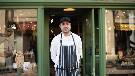 Adam Wright outside the new Wright's cafe in Bury St Edmunds. Picture: SARAH LUCY BROWN