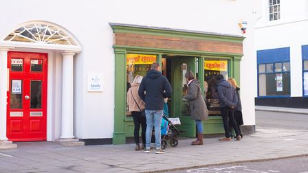 People waiting outside Wright's new cafe. Picture: SARAH LUCY BROWN