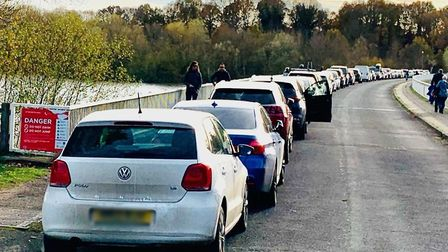 Lemons Hill Bridge in Tattingstone had an excess of 50 cars parked in a clearway over the weekend. Picture: TIM KERSHAW