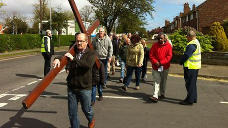 Gorleston Walk of Witness. The congregation walking up Magdalen Way. Picture: LC
