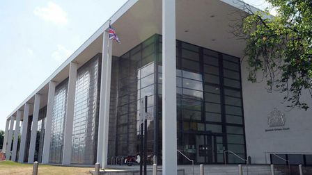 Ipswich crown court building with union flag