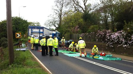 Police at the crash scene near the Crown Inn. Picture: Natalie Copeland