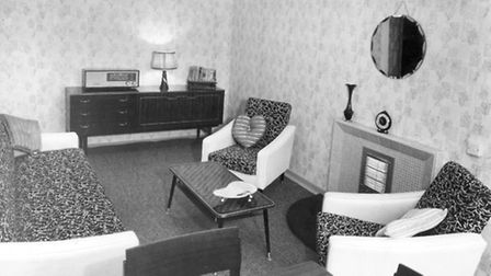Showflat sitting room for the Linton Road flats, c1961