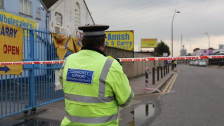 Police at the scene of the incident on Monday