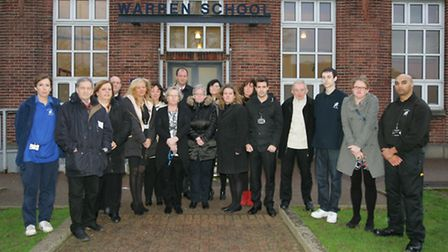 Sarah Jane Scrace, and other staff outside Warren School in Whalebone Lane North, opposing academy status