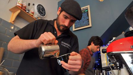 Alex Sergeant barista at Strangers cafe, Pottergate who came fifth in the UK latte art championships