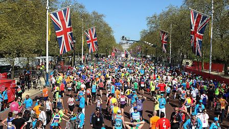 General Views towards The Mall entrance with runners leaving the finishing line of the Virgin Money London Marathon on the...