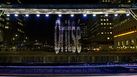 JLS star Ortise has his name displayed on Aquascript in Canary Wharf