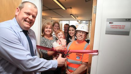 BBMV delivering manager Brendan Seymour, left, Crossrail employees and members of the Childhood Eye Cancer Trust...