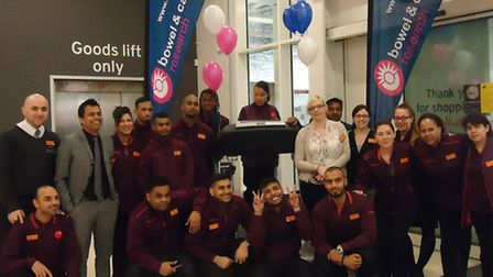 Staff and shoppers at Sainsbury's in Whitechapel took part in the treadmill challenge to raise cash for a cancer charity