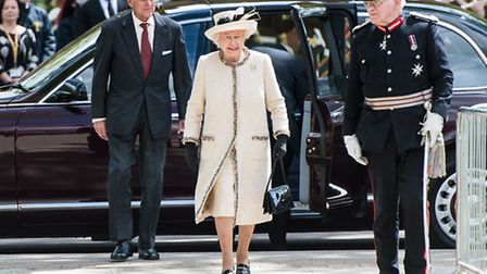: Prince Phillip, Duke of Edinburgh and Queen Elizabeth II arrive for an official visit to Felsted School (Photo by Ian...