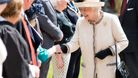 Queen Elizabeth II meets staff during an official visit to Felsted School (Photo by Ian Gavan - WPA Pool /Getty Images)