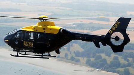 A police helicopter was used in the search for the man