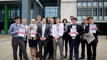 The Create Your Future students celebrate with the Barking and Dagenham Post news team