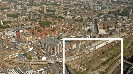 Bishopsgate site (inset) looking towards Shoreditch and East London