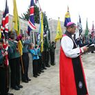 Remembrance Day at the war memorial, Barking Park, The Bishop of Barking Trevor Mwamba.