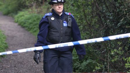 Police in Eastbrookend Country Park the morning after Neill's leg was discovered