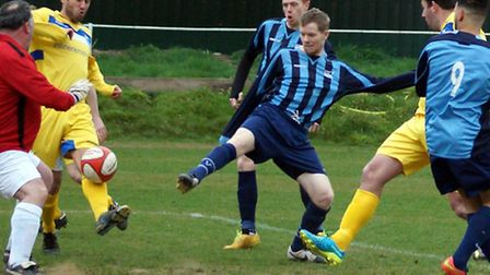 Barking's Ben Turner puts the ball in the net but has it ruled out (pic; Terry Gilbert)