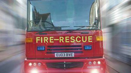A Suffolk fire engine on the way to an emergency