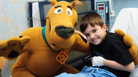 Scooby Doo makes a flying visit to the Norfolk and Norwich University Hospital, to help publicise hi