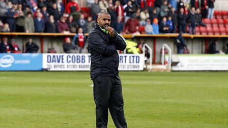 Orient manager Fabio Liverani after relegation is confirmed (pic: Simon O'Connor).