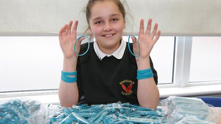 Lydia Wren with her charity wristbands