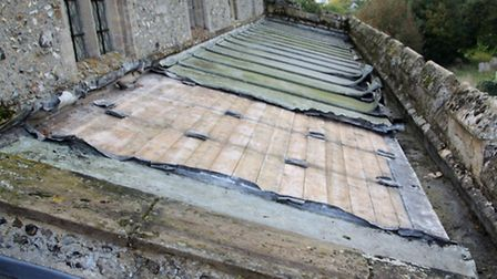 Groton Church north aisle - lead partly stripped