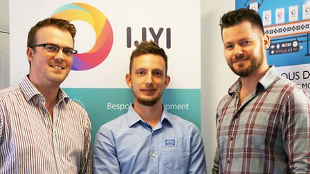 IJYI directors John Nicholson, left, and Chris Pont, right, with apprentice Andy Bloomfield.
