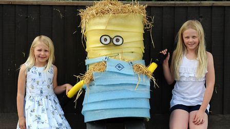 The Barrow Scarecrow Festival. L-R: Lily and Molly Cocksedge with their scarecrow.
