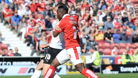 George Moncur scores Colchester's opener at Swindon Town