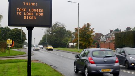 The new electronic road sign in Rushmere