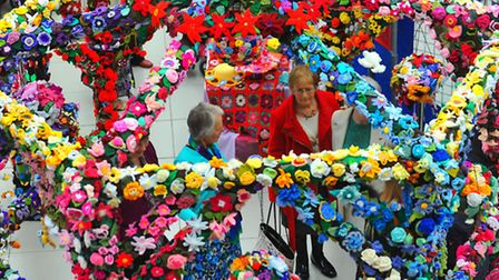 The magnificent knitted pergola in the Forum, Norwich that has been created by hundreds of knitters
