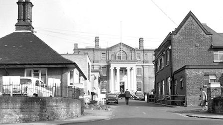 The main entrance to the Anglesea Road, Ipswich hospital from Berners Street in the 1960s.