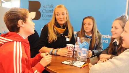 Suffolk Skills Show 2015 at Trinity Park, Ipswich. Having a chat to Suffolk Chamber of Commerce