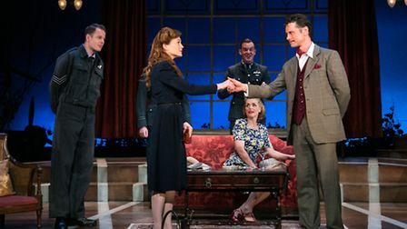 Olivia Hallinan and Leon Ockenden (front centre) in Terence Rattigan's wartime drama Flare Path which is packing out the...