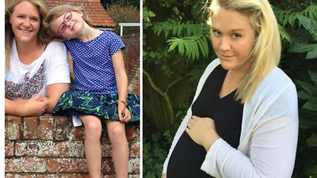 Ellen's daughter, pictured with her right, was not keen on being left alone with her heavily pregnant mum