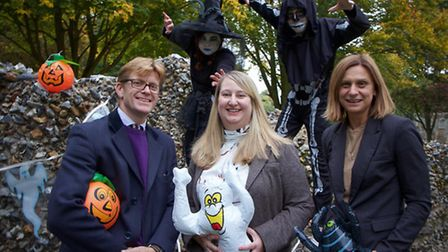 West Suffolk College students Ryan Adams, 17, and Anna Payne, 16, get in the mood for The Ghostly Gardens with l-r: Simon...