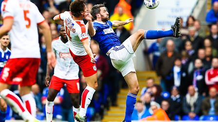 Cole Skuse during the Ipswich Town v Huddersfield (Championship) match at Portman Road, Ipswich, on 17 October 2015.