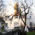 Over 10 fire engines attending a large thatch house fire in Elmswell.