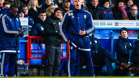 Town manager Mick McCarthy vocal on the touchline during the Ipswich Town v Preston North End (Championship) football...